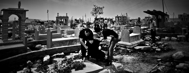 A funeral in the christian city of Al Qosh in northern Iraq.